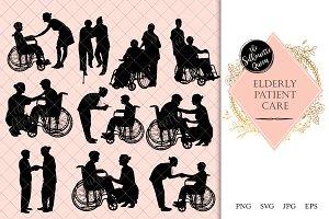 Elderly Care Wheelchair Silhouette