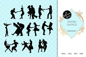 Swing Dance Silhouette Vector