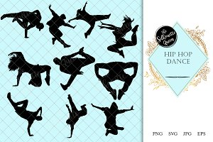 Hip Hop Dance  Silhouette Vector