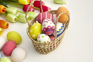 Easter Holiday on white wooden