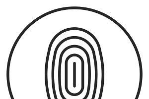 Fingerprint Scan stroke icon, logo
