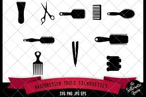 Hairdresser Tools Silhouette - Vol 1
