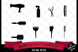 Hairdresser Tools Silhouette - Vol2