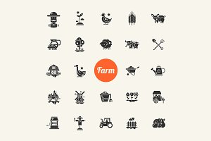 Farm & Agriculture Pictograms Sets