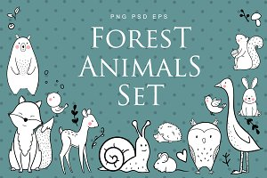Forest Animals Set (EPS+PNG+PSD)
