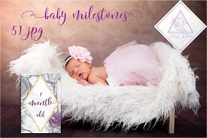 Baby Milestone Cards, 51 JPG files