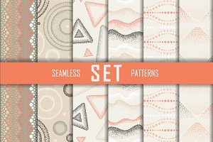 6 seamless dotted vector patterns