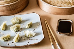 Asian gyoza, dumplings snack