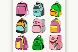 Colored teenager school backpacks