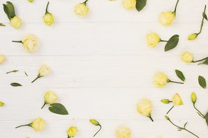 White flowers on a wood background