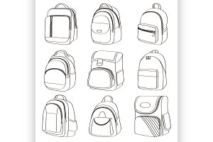 Colored teenager school backpacks se