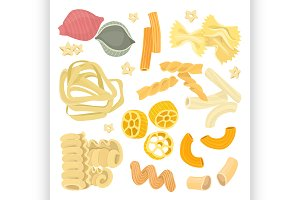 Italian pasta food set icon