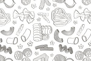 Italian pasta food set pattern