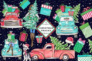 Christmas Trucks Clip Art Graphics