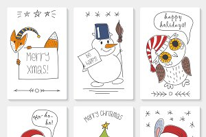 Christmas white paper cards set