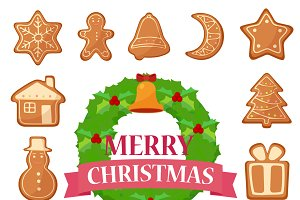 Christmas cookies, trees icons