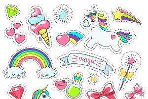 Magic cute unicorn stickers