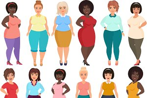 Curvy, overweight fat woman fashion