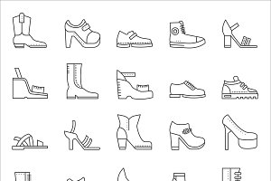 Shoes footwear line icons set