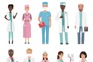 Doctors, nurses and medical staff