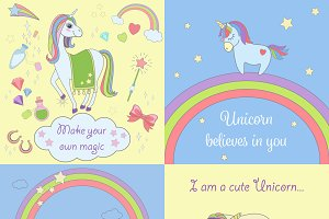 Magical unicorn set & stickers icons