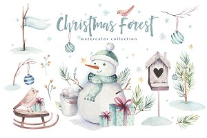 Watercolor Christmas forest
