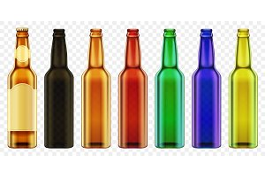 Realistic color beer bottles set