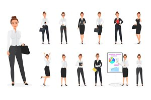 Business woman character poses