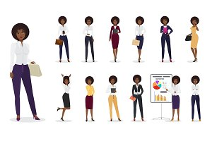 African american businesswoman poses