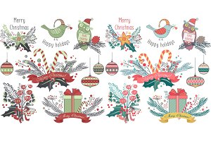 Animals, decorations christmas cards