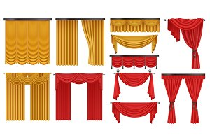 Golden and red curtains set
