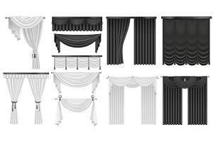 Black and white velvet silk curtains