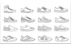 Sneakers shoes line icons set.
