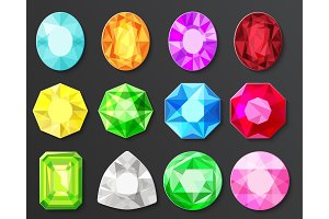Colored gems diamonds set