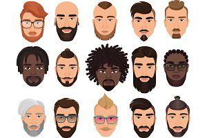 Hipsters bearded men avatars set
