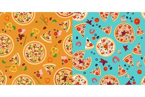 Seamless pattern Pizza Slices
