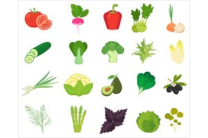 Vegetables and herbs icons.