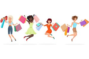 Happy women jump with shopping bags
