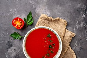 Tomato vegetarian soup gazpacho in
