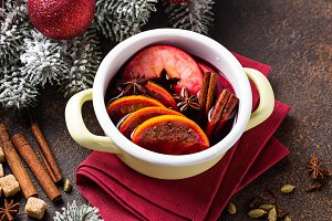 Cooking Christmas hot mulled wine