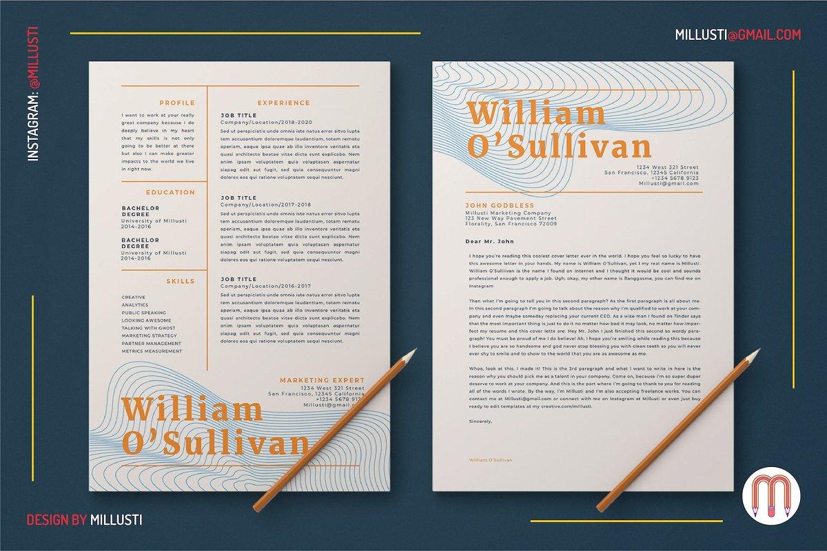 Elegant Line Art Resume Cover Letter ~ Templates ~ Creative Market