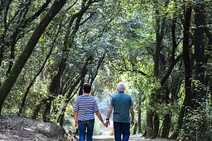 Retired couple walking together