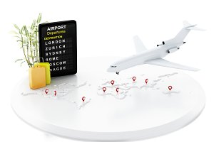 3d airport board, travel suitcases a