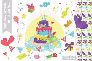 Birthday Vector Cake Decoration