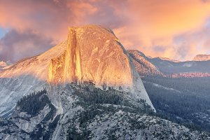 Sunset over Half Dome in Yosemite