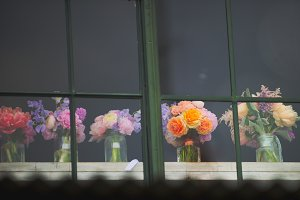 Vintage Wedding Flowers in Window