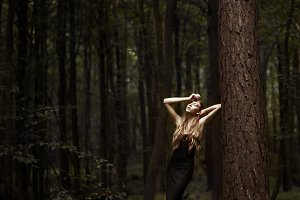 beautiful girl in the forest