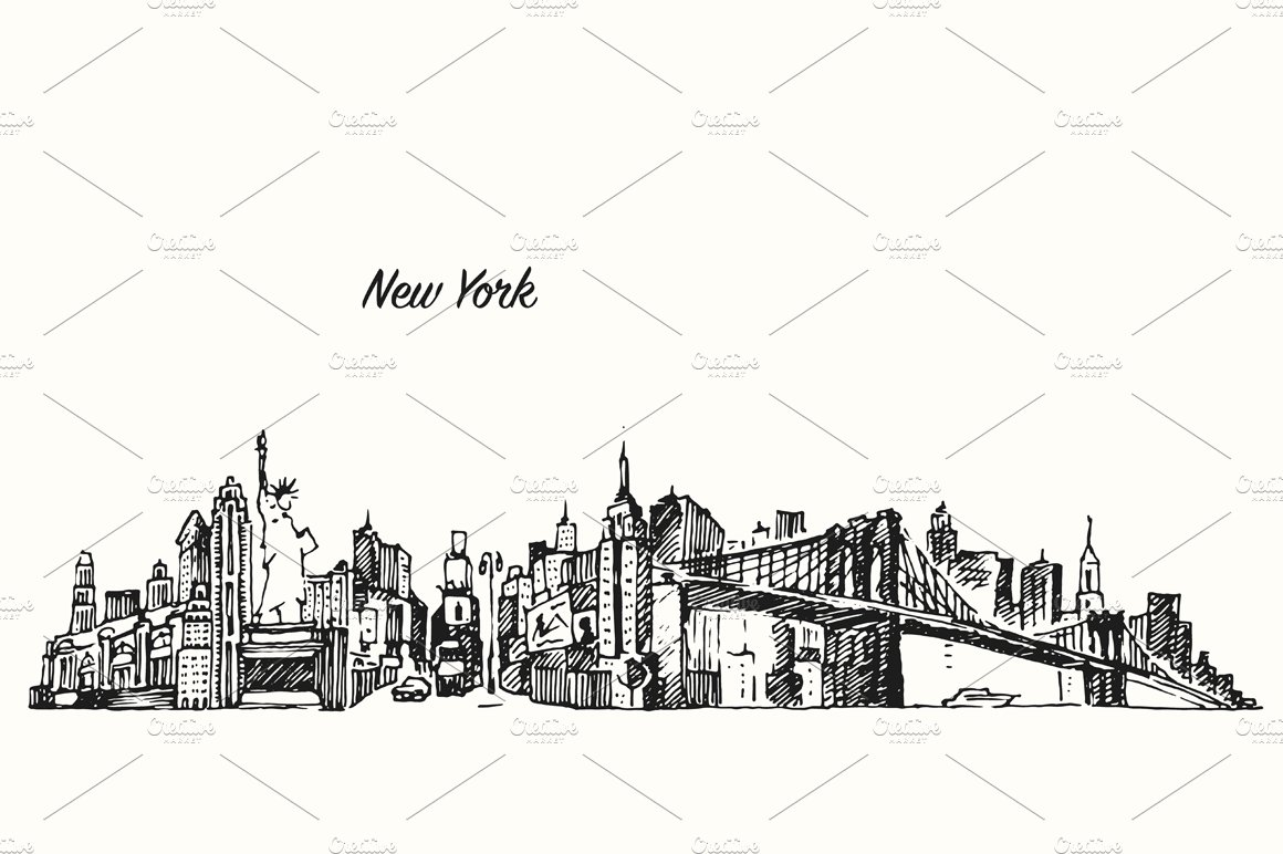 New York City Skyline Illustrations Creative Market