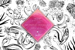 Mermaid Doodle Clipart