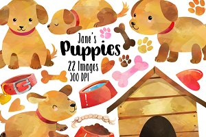Watercolor Puppies Clipart